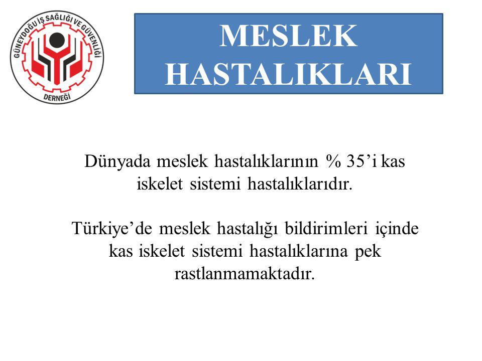 MESLEK HASTALIKLARI Dünyada meslek hastalıklarının % 35'i kas iskelet sistemi hastalıklarıdır. Türkiye'de meslek hastalığı bildirimleri içinde kas isk