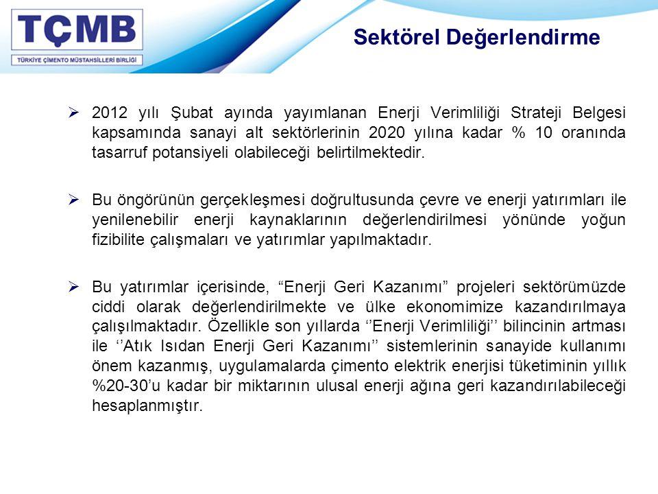 2012 yılı Şubat ayında yayımlanan Enerji Verimliliği Strateji Belgesi kapsamında sanayi alt sektörlerinin 2020 yılına kadar % 10 oranında tasarruf p