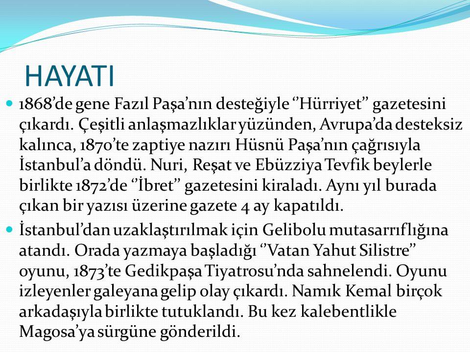 HAYATI  1876'da I.Meşrutiyet'in ilanından sonra İstanbul'a döndü.