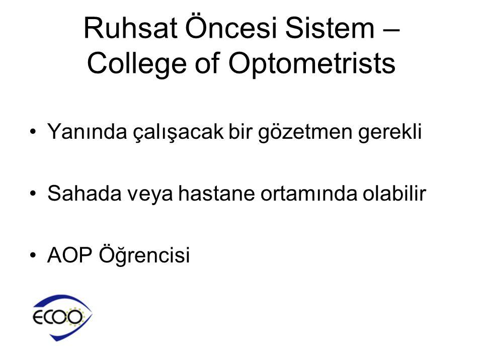 Ruhsat Öncesi Sistem – College of Optometrists •Yanında çalışacak bir gözetmen gerekli •Sahada veya hastane ortamında olabilir •AOP Öğrencisi