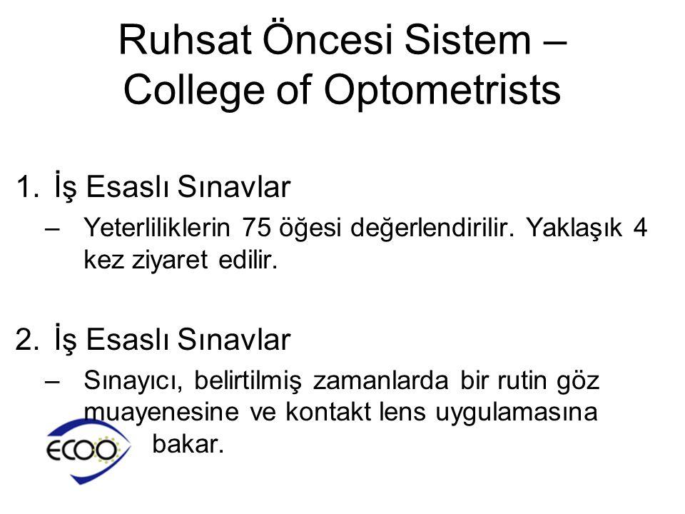 Ruhsat Öncesi Sistem – College of Optometrists 1.İş Esaslı Sınavlar –Yeterliliklerin 75 öğesi değerlendirilir. Yaklaşık 4 kez ziyaret edilir. 2.İş Esa