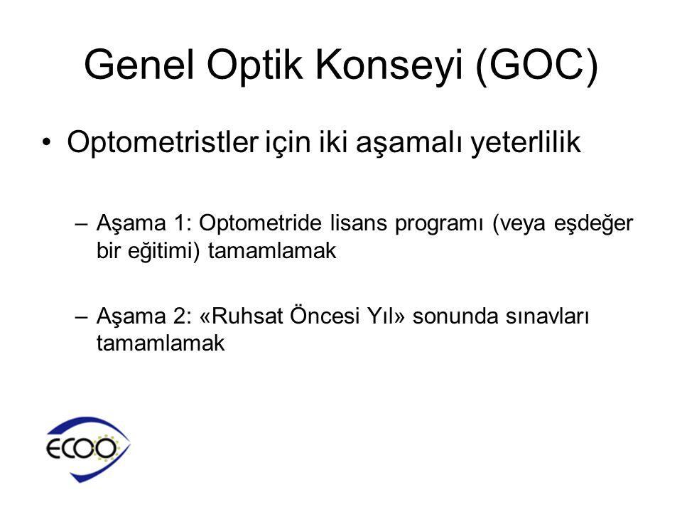 Genel Optik Konseyi (GOC) •Optometristler için iki aşamalı yeterlilik –Aşama 1: Optometride lisans programı (veya eşdeğer bir eğitimi) tamamlamak –Aşa