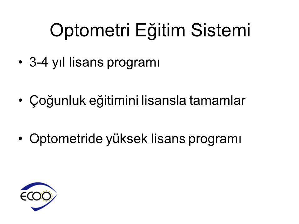 •3-4 yıl lisans programı •Çoğunluk eğitimini lisansla tamamlar •Optometride yüksek lisans programı Optometri Eğitim Sistemi