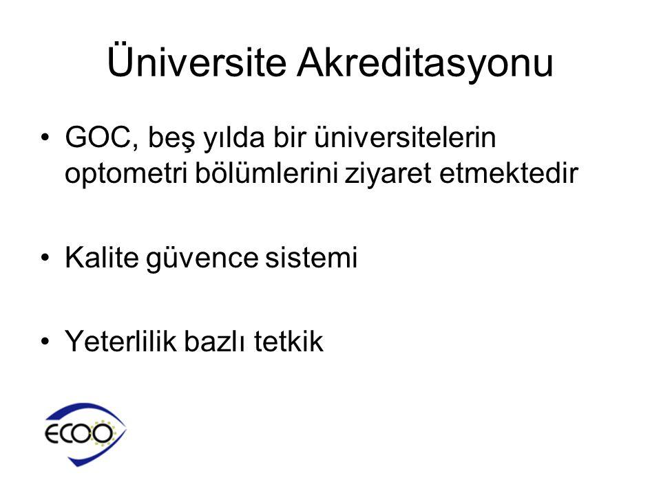Üniversite Akreditasyonu •GOC, beş yılda bir üniversitelerin optometri bölümlerini ziyaret etmektedir •Kalite güvence sistemi •Yeterlilik bazlı tetkik
