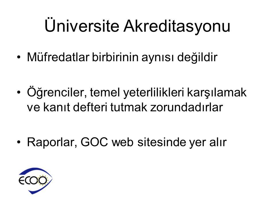 Üniversite Akreditasyonu •Müfredatlar birbirinin aynısı değildir •Öğrenciler, temel yeterlilikleri karşılamak ve kanıt defteri tutmak zorundadırlar •R