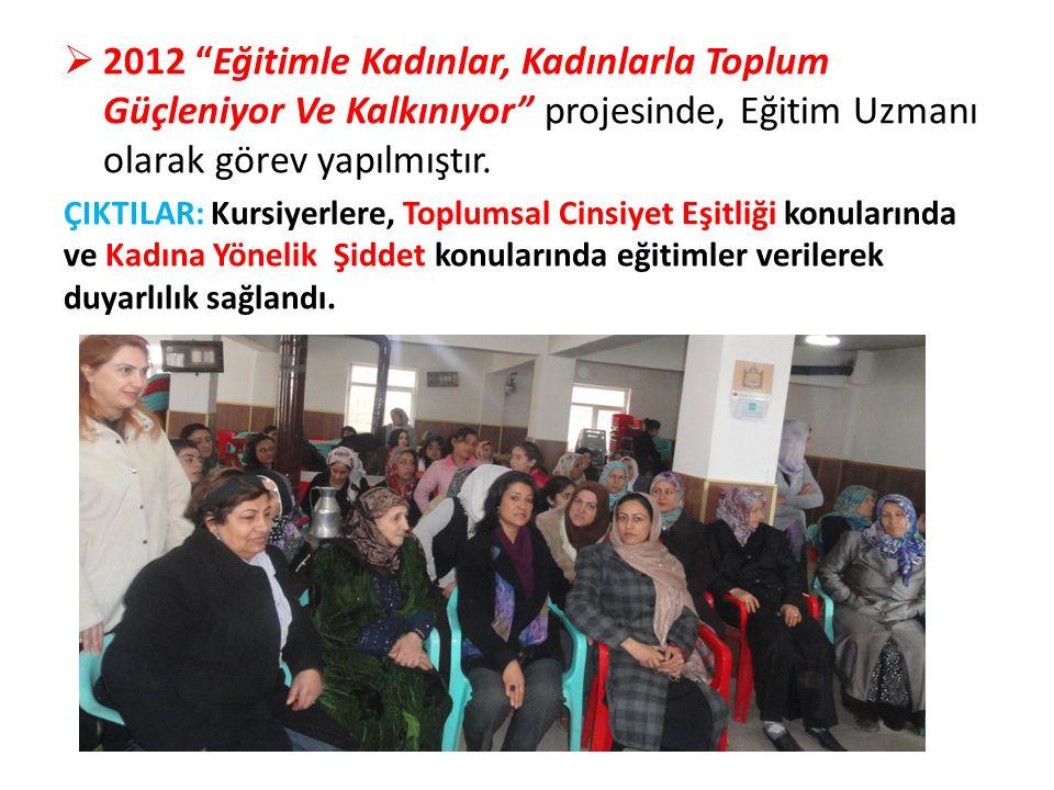 """ 2012 """"Eğitimle Kadınlar, Kadınlarla Toplum Güçleniyor Ve Kalkınıyor"""" projesinde, Eğitim Uzmanı olarak görev yapılmıştır. ÇIKTILAR: Kursiyerlere, Top"""