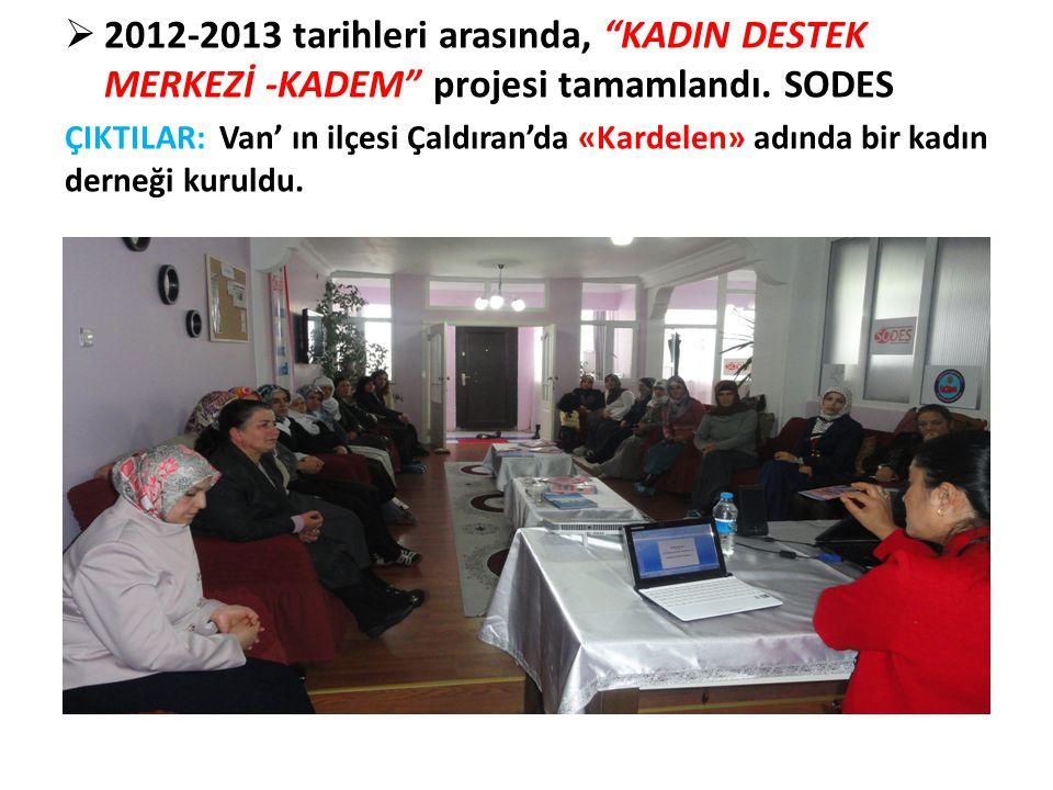 """ 2012-2013 tarihleri arasında, """"KADIN DESTEK MERKEZİ -KADEM"""" projesi tamamlandı. SODES ÇIKTILAR: Van' ın ilçesi Çaldıran'da «Kardelen» adında bir kad"""