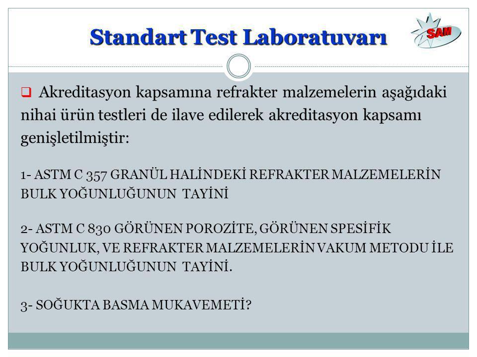 Standart Test Laboratuvarı  Akreditasyon kapsamına refrakter malzemelerin aşağıdaki nihai ürün testleri de ilave edilerek akreditasyon kapsamı genişletilmiştir: 1- ASTM C 357 GRANÜL HALİNDEKİ REFRAKTER MALZEMELERİN BULK YOĞUNLUĞUNUN TAYİNİ 2- ASTM C 830 GÖRÜNEN POROZİTE, GÖRÜNEN SPESİFİK YOĞUNLUK, VE REFRAKTER MALZEMELERİN VAKUM METODU İLE BULK YOĞUNLUĞUNUN TAYİNİ.