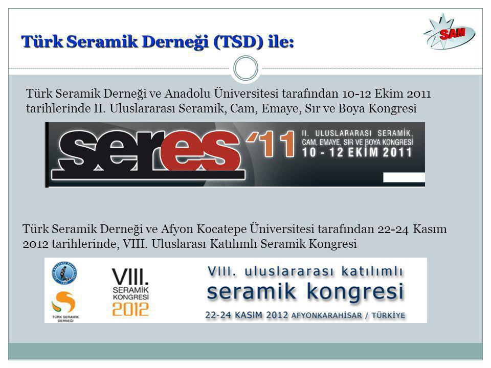Türk Seramik Derneği (TSD) ile: Türk Seramik Derneği ve Anadolu Üniversitesi tarafından 10-12 Ekim 2011 tarihlerinde II. Uluslararası Seramik, Cam, Em