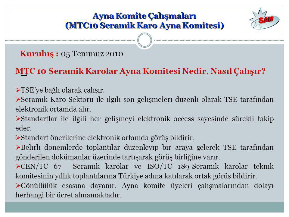 Ayna Komite Çalışmaları (MTC10 Seramik Karo Ayna Komitesi) Kuruluş : 05 Temmuz 2010 — MTC 10 Seramik Karolar Ayna Komitesi Nedir, Nasıl Çalışır?  TSE