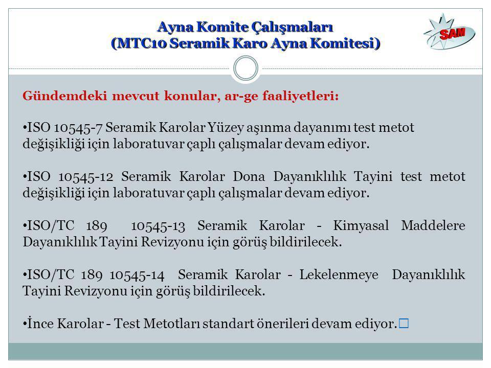 Gündemdeki mevcut konular, ar-ge faaliyetleri: • ISO 10545-7 Seramik Karolar Yüzey aşınma dayanımı test metot değişikliği için laboratuvar çaplı çalış