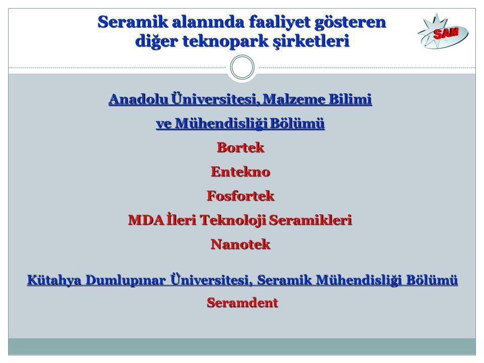 Seramik alanında faaliyet gösteren diğer teknopark şirketleri Kütahya Dumlupınar Üniversitesi, Seramik Mühendisliği Bölümü Seramdent Anadolu Üniversit