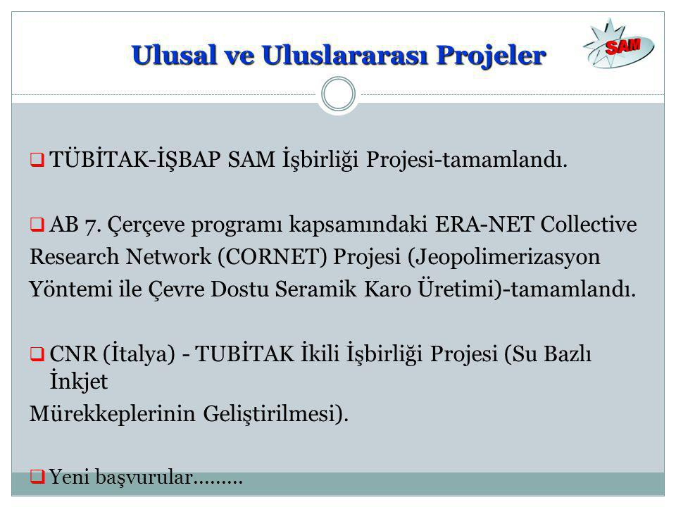 Ulusal ve Uluslararası Projeler  TÜBİTAK-İŞBAP SAM İşbirliği Projesi-tamamlandı.  AB 7. Çerçeve programı kapsamındaki ERA-NET Collective Research Ne