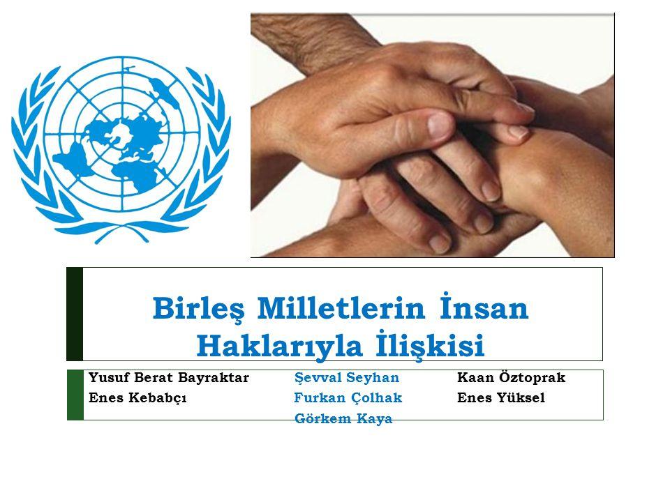 İçindekiler  Birleş Milletler Kuruluş Amacı ve Tarihçesi  Birleş Milletler Organizasyon Yapısı  BM ve Dünya Barışı  BM Bin Yıl Kalkınma Hedefleri  İ nsan Hakları ve Birleşmiş Milletler  Sıkça Sorulan Sorular ve Ek Bilgi