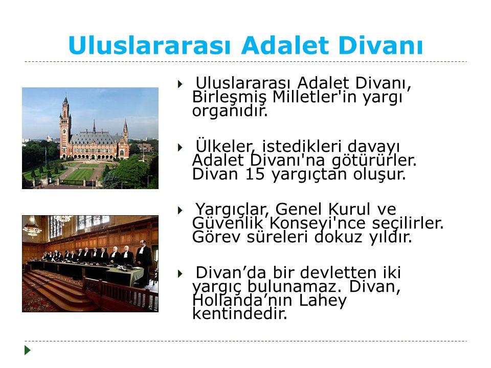 Uluslararası Adalet Divanı  Uluslararası Adalet Divanı, Birleşmiş Milletler in yargı organıdır.