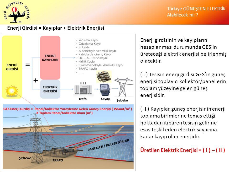 Türkiye GÜNEŞTEN ELEKTRİK Alabilecek mi ? Enerji girdisinin ve kayıpların hesaplanması durumunda GES'in üreteceği elektrik enerjisi belirlenmiş olacak