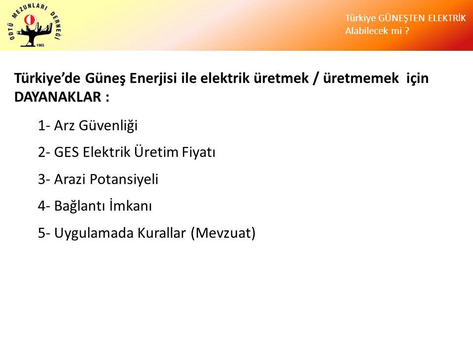 Türkiye GÜNEŞTEN ELEKTRİK Alabilecek mi ? Türkiye'de Güneş Enerjisi ile elektrik üretmek / üretmemek için DAYANAKLAR : 1- Arz Güvenliği 2- GES Elektri