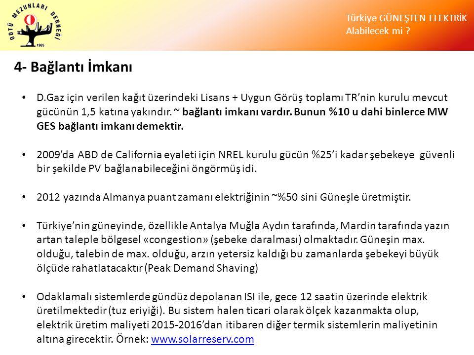 Türkiye GÜNEŞTEN ELEKTRİK Alabilecek mi ? 4- Bağlantı İmkanı • D.Gaz için verilen kağıt üzerindeki Lisans + Uygun Görüş toplamı TR'nin kurulu mevcut g
