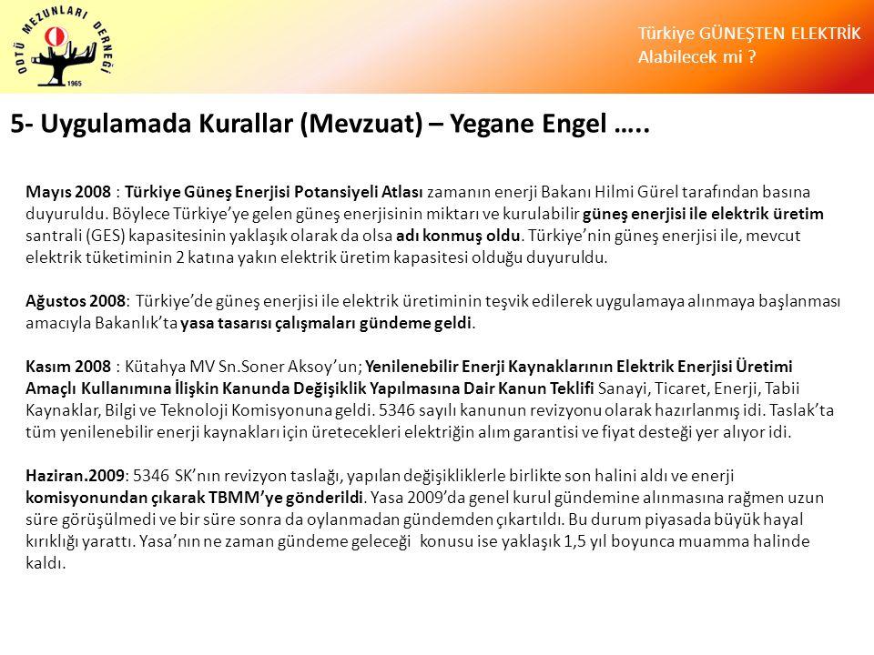 Türkiye GÜNEŞTEN ELEKTRİK Alabilecek mi ? 5- Uygulamada Kurallar (Mevzuat) – Yegane Engel ….. Mayıs 2008 : Türkiye Güneş Enerjisi Potansiyeli Atlası z