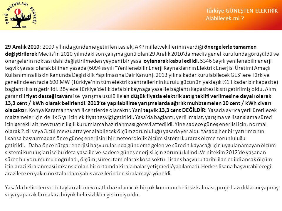 Türkiye GÜNEŞTEN ELEKTRİK Alabilecek mi ? 29 Aralık 2010: 2009 yılında gündeme getirilen taslak, AKP milletvekillerinin verdiği önergelerle tamamen de