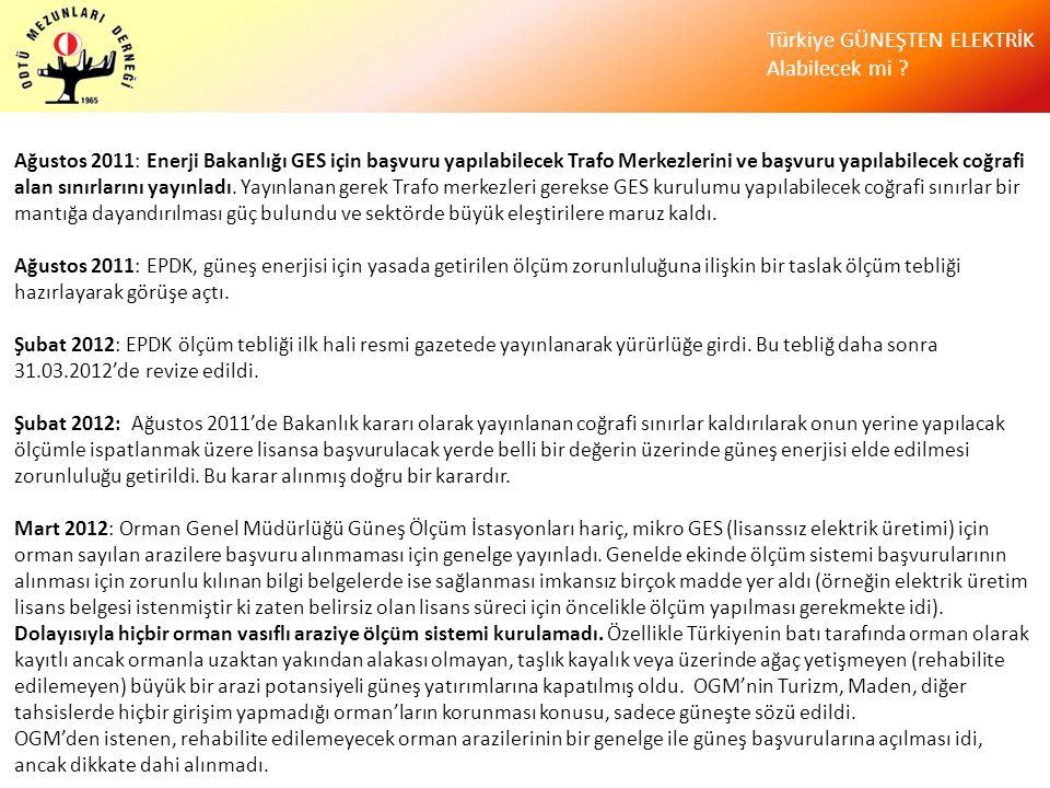 Türkiye GÜNEŞTEN ELEKTRİK Alabilecek mi ? Ağustos 2011: Enerji Bakanlığı GES için başvuru yapılabilecek Trafo Merkezlerini ve başvuru yapılabilecek co