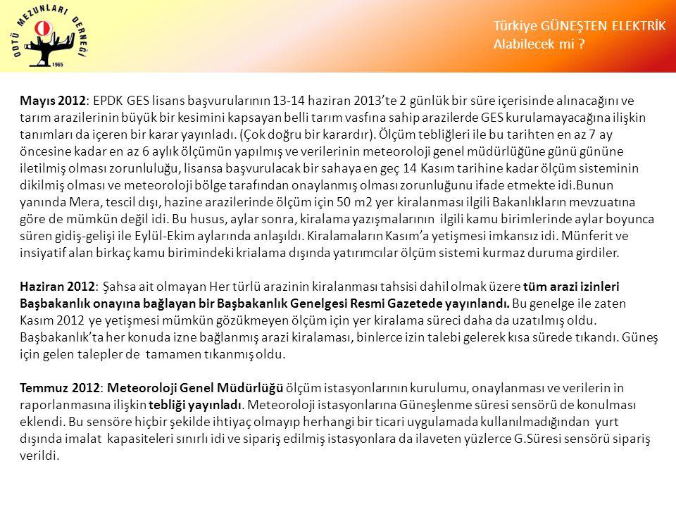 Türkiye GÜNEŞTEN ELEKTRİK Alabilecek mi ? Mayıs 2012: EPDK GES lisans başvurularının 13-14 haziran 2013'te 2 günlük bir süre içerisinde alınacağını ve