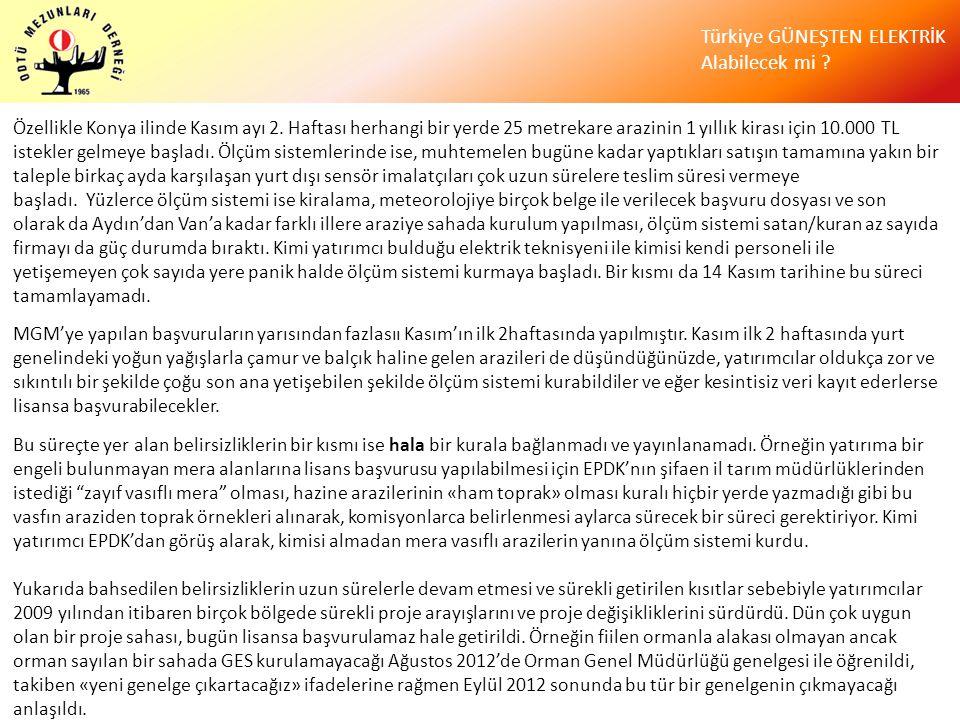 Türkiye GÜNEŞTEN ELEKTRİK Alabilecek mi ? Özellikle Konya ilinde Kasım ayı 2. Haftası herhangi bir yerde 25 metrekare arazinin 1 yıllık kirası için 10