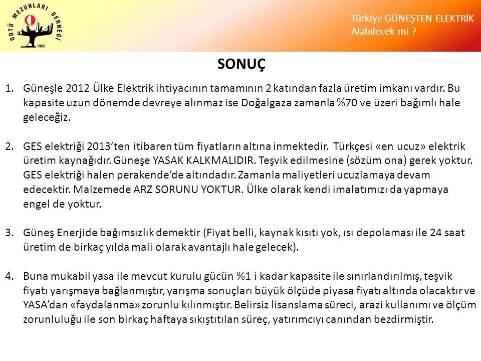 Türkiye GÜNEŞTEN ELEKTRİK Alabilecek mi ? SONUÇ 1.Güneşle 2012 Ülke Elektrik ihtiyacının tamamının 2 katından fazla üretim imkanı vardır. Bu kapasite
