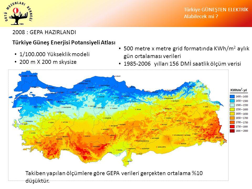 Türkiye GÜNEŞTEN ELEKTRİK Alabilecek mi ? • 1/100.000 Yükseklik modeli • 200 m X 200 m skysize • 500 metre x metre grid formatında KWh/m 2 aylık gün o
