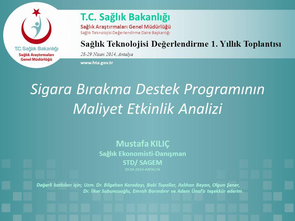 Sigara Bırakma Destek Programının Maliyet Etkinlik Analizi Mustafa KILIÇ Sağlık Ekonomisti-Danışman STD/ SAGEM 29.04.2014-ANTALYA Değerli katkıları iç