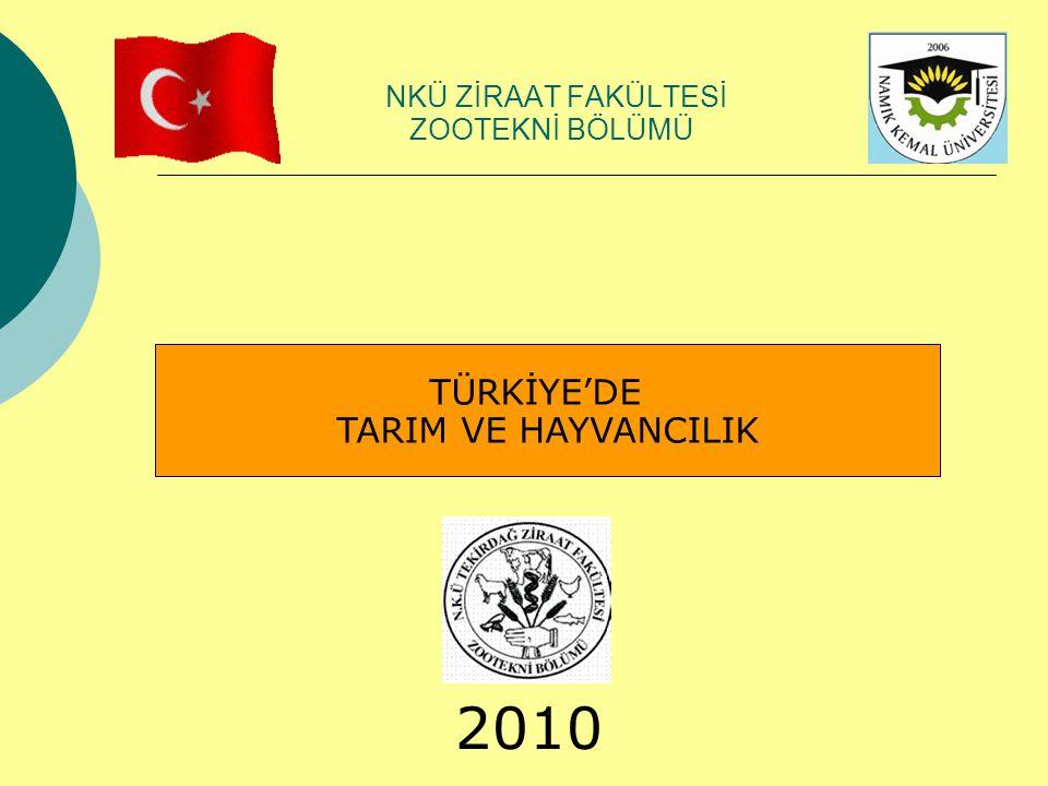 TÜRKİYE'DE TARIM VE HAYVANCILIK NKÜ ZİRAAT FAKÜLTESİ ZOOTEKNİ BÖLÜMÜ 2010