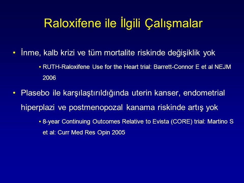 Raloxifene ile İlgili Çalışmalar •İnme, kalb krizi ve tüm mortalite riskinde değişiklik yok •RUTH-Raloxifene Use for the Heart trial: Barrett-Connor E et al NEJM 2006 •Plasebo ile karşılaştırıldığında uterin kanser, endometrial hiperplazi ve postmenopozal kanama riskinde artış yok •8-year Continuing Outcomes Relative to Evista (CORE) trial: Martino S et al: Curr Med Res Opin 2005