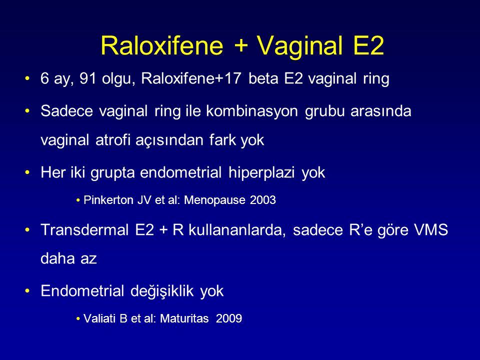 Raloxifene + Vaginal E2 •6 ay, 91 olgu, Raloxifene+17 beta E2 vaginal ring •Sadece vaginal ring ile kombinasyon grubu arasında vaginal atrofi açısından fark yok •Her iki grupta endometrial hiperplazi yok •Pinkerton JV et al: Menopause 2003 •Transdermal E2 + R kullananlarda, sadece R'e göre VMS daha az •Endometrial değişiklik yok •Valiati B et al: Maturitas 2009