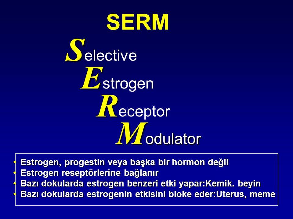 S S elective E E strogen R R eceptor M odulator SERM •Estrogen, progestin veya başka bir hormon değil •Estrogen reseptörlerine bağlanır •Bazı dokularda estrogen benzeri etki yapar:Kemik.