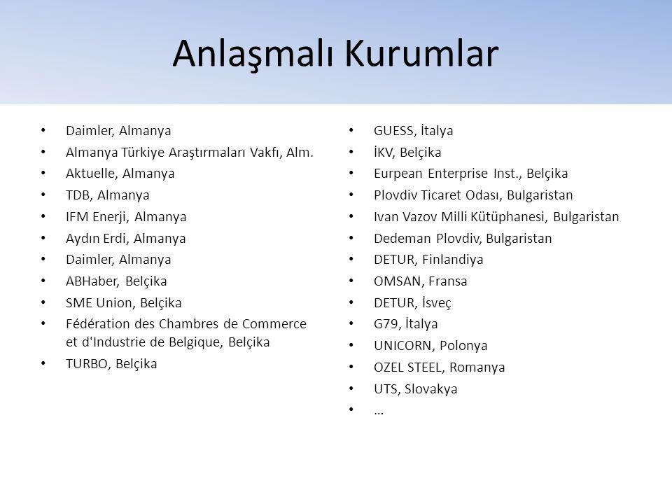Anlaşmalı Kurumlar • Daimler, Almanya • Almanya Türkiye Araştırmaları Vakfı, Alm. • Aktuelle, Almanya • TDB, Almanya • IFM Enerji, Almanya • Aydın Erd