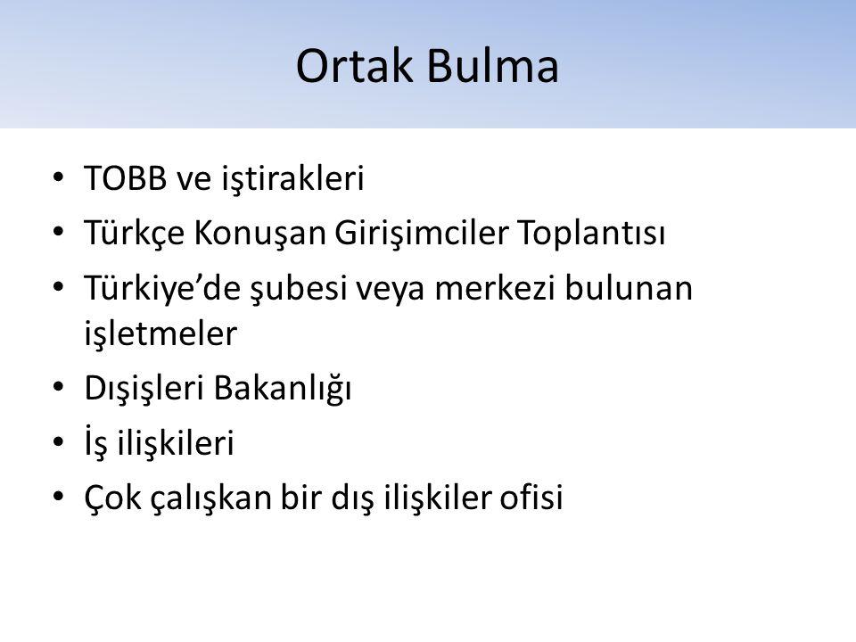 Ortak Bulma • TOBB ve iştirakleri • Türkçe Konuşan Girişimciler Toplantısı • Türkiye'de şubesi veya merkezi bulunan işletmeler • Dışişleri Bakanlığı •