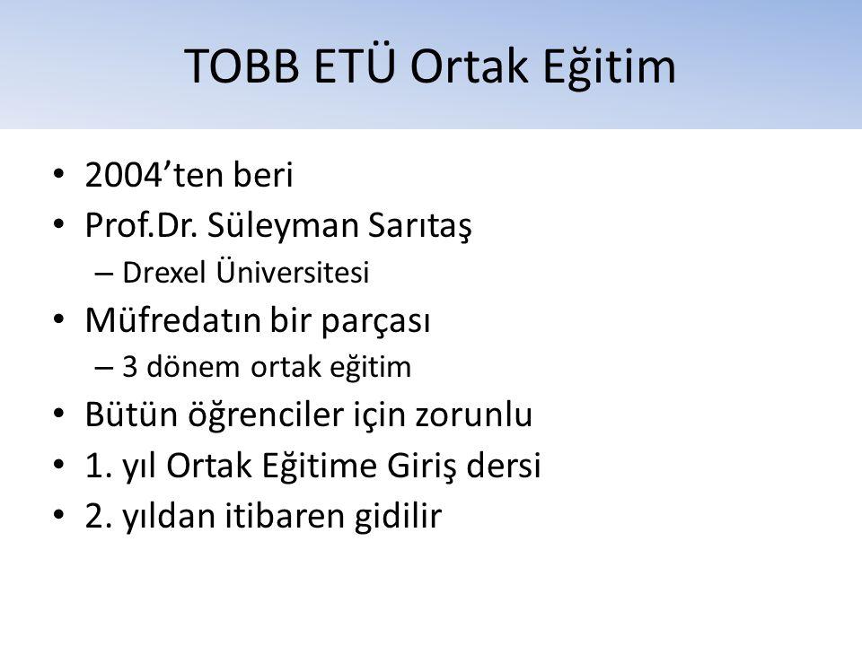 TOBB ETÜ Ortak Eğitim • 2004'ten beri • Prof.Dr. Süleyman Sarıtaş – Drexel Üniversitesi • Müfredatın bir parçası – 3 dönem ortak eğitim • Bütün öğrenc
