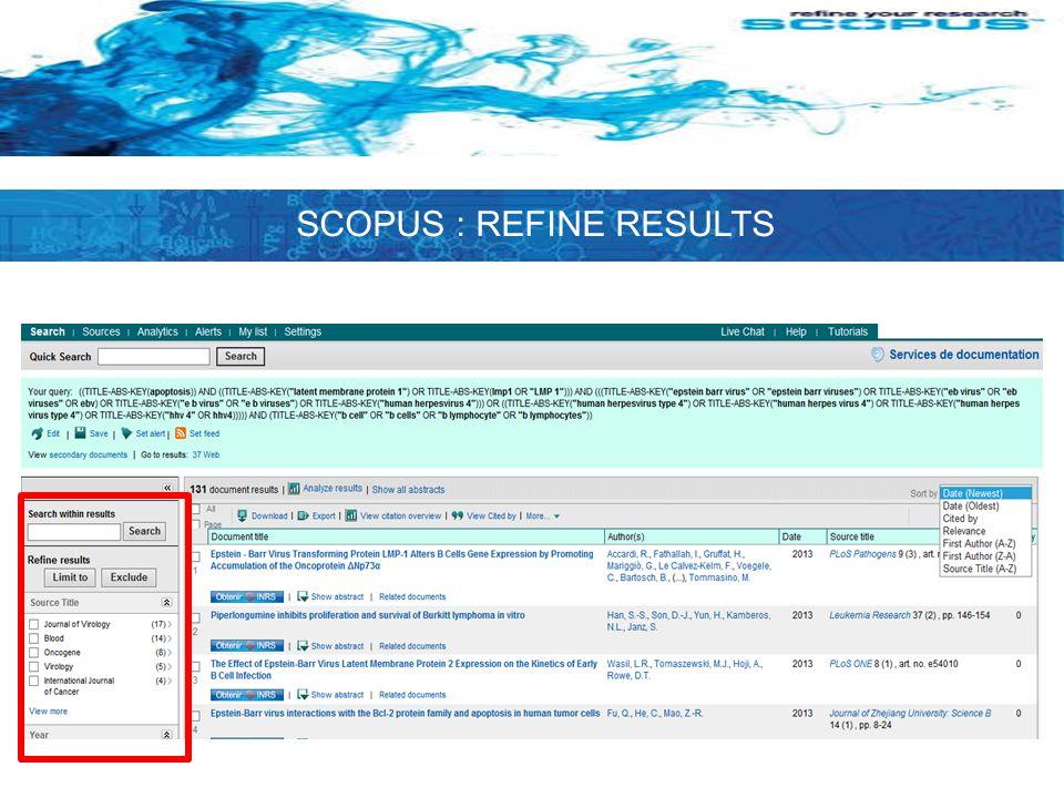 SCOPUS : REFINE RESULTS
