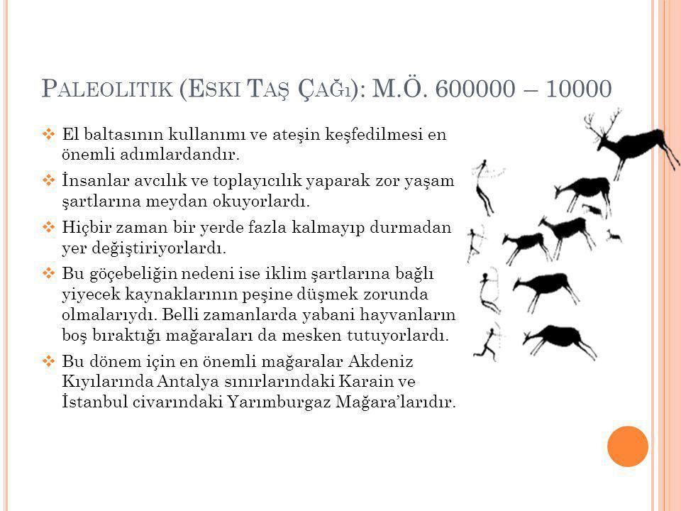 P ALEOLITIK (E SKI T AŞ Ç AĞı ): M.Ö. 600000 – 10000  El baltasının kullanımı ve ateşin keşfedilmesi en önemli adımlardandır.  İnsanlar avcılık ve t
