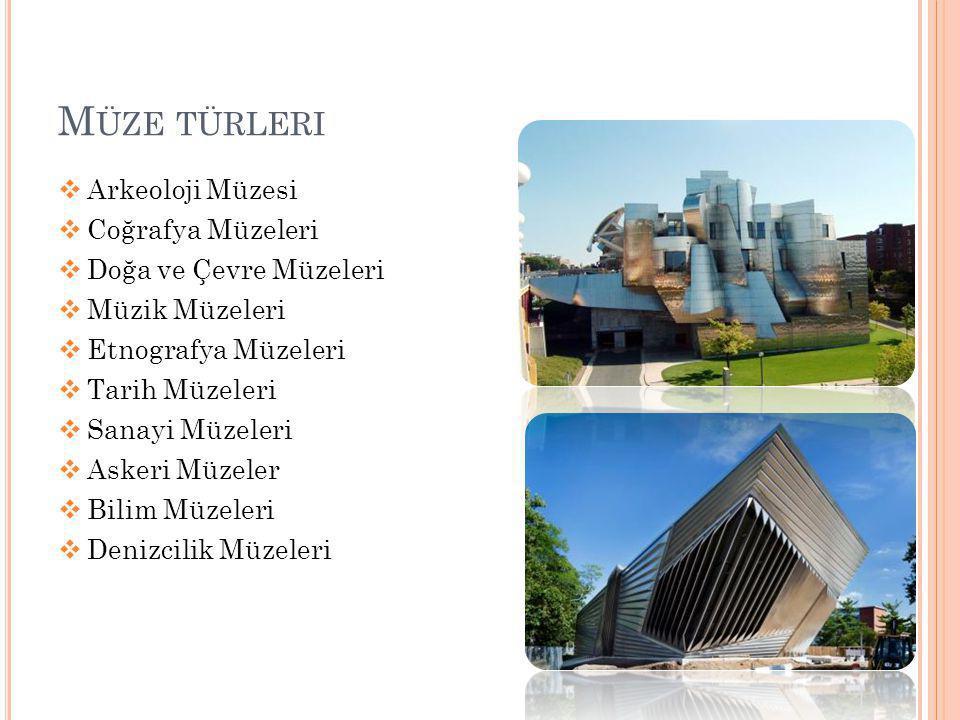 M ÜZE TÜRLERI  Arkeoloji Müzesi  Coğrafya Müzeleri  Doğa ve Çevre Müzeleri  Müzik Müzeleri  Etnografya Müzeleri  Tarih Müzeleri  Sanayi Müzeler