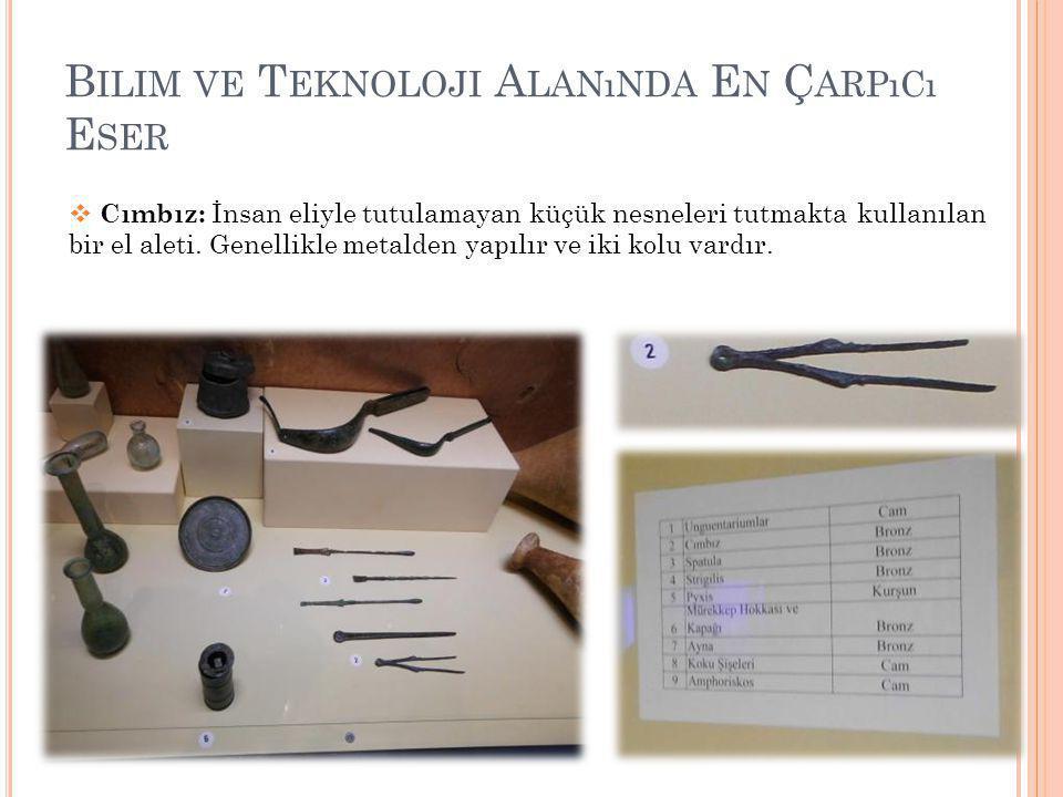 B ILIM VE T EKNOLOJI A LANıNDA E N Ç ARPıCı E SER  Cımbız: İnsan eliyle tutulamayan küçük nesneleri tutmakta kullanılan bir el aleti.