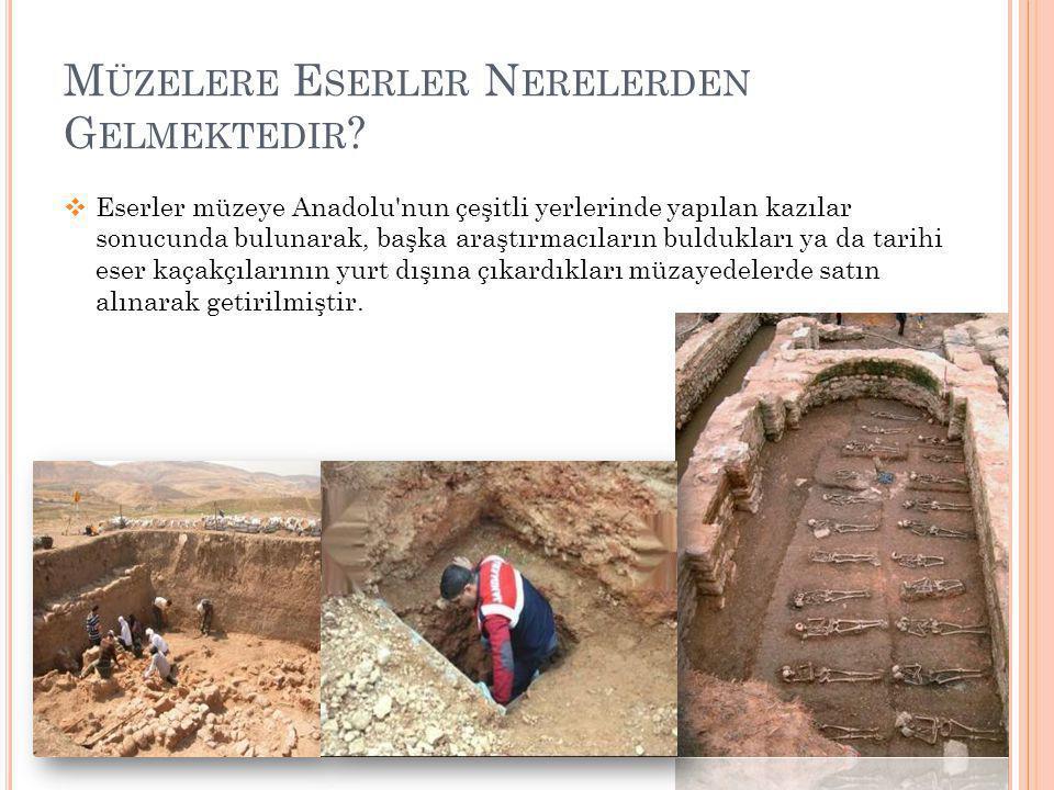 M ÜZELERE E SERLER N ERELERDEN G ELMEKTEDIR ?  Eserler müzeye Anadolu'nun çeşitli yerlerinde yapılan kazılar sonucunda bulunarak, başka araştırmacıla