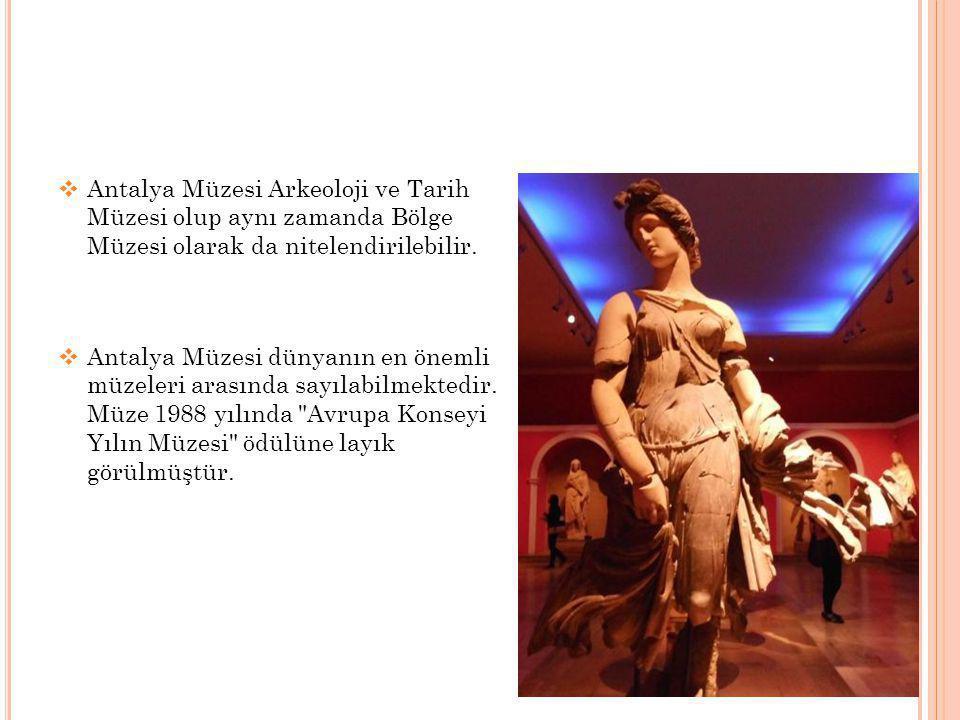  Antalya Müzesi Arkeoloji ve Tarih Müzesi olup aynı zamanda Bölge Müzesi olarak da nitelendirilebilir.  Antalya Müzesi dünyanın en önemli müzeleri a