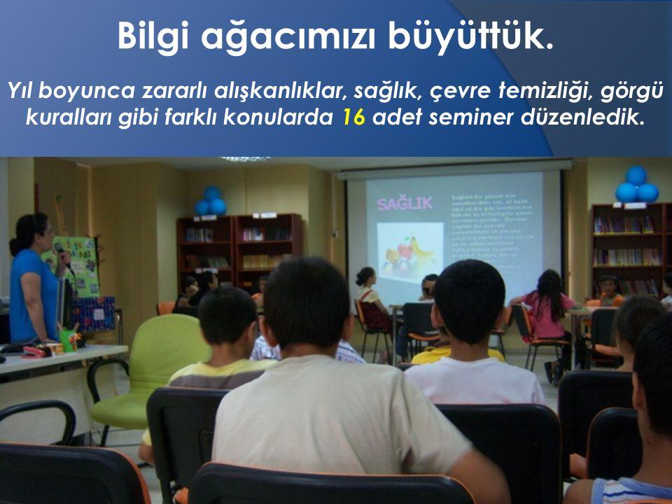 Yıl boyunca zararlı alışkanlıklar, sağlık, çevre temizliği, görgü kuralları gibi farklı konularda 16 adet seminer düzenledik.