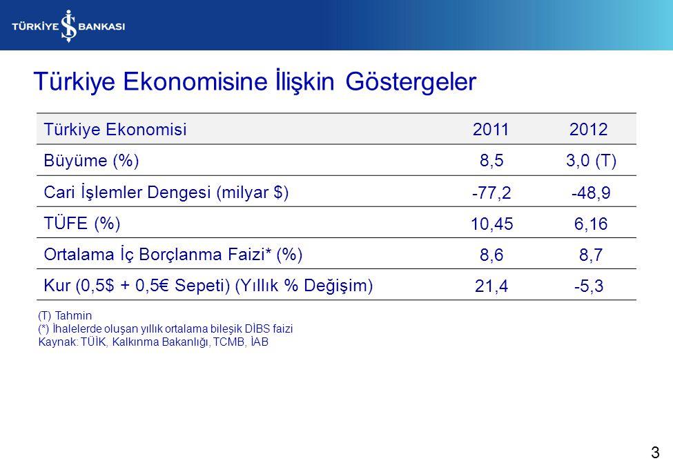 Türkiye Ekonomisine İlişkin Göstergeler Türkiye Ekonomisi20112012 Büyüme (%)8,5 3,0 (T) Cari İşlemler Dengesi (milyar $)-77,2 -48,9 TÜFE (%)10,45 6,16