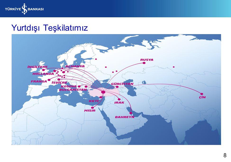 2012 yıl sonu itibarıyla İş Bankası müşterilerine; - 24.411 çalışan, - 1.231 yurtiçi, 19 yurtdışı şube ve - 4.851 Bankamatik ile hizmet vermektedir. 8