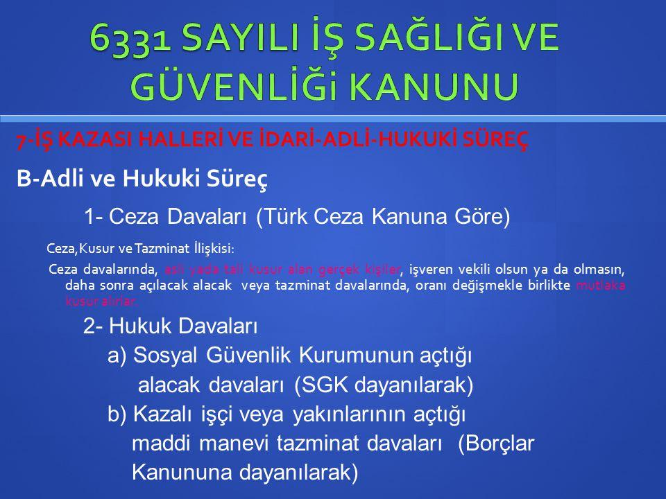 7-İŞ KAZASI HALLERİ VE İDARİ-ADLİ-HUKUKİ SÜREÇ B-Adli ve Hukuki Süreç 1- Ceza Davaları (Türk Ceza Kanuna Göre) Ceza,Kusur ve Tazminat İlişkisi: Ceza d