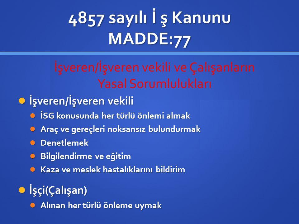 4857 sayılı İ ş Kanunu 4857 sayılı İş Kanununun ; *77.