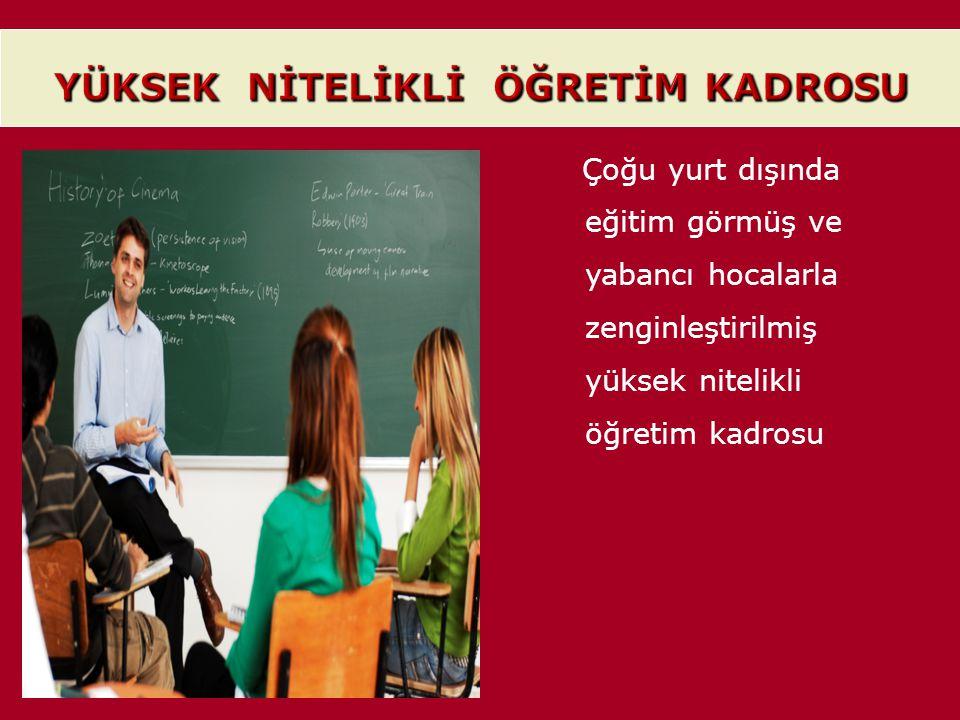 Çoğu yurt dışında eğitim görmüş ve yabancı hocalarla zenginleştirilmiş yüksek nitelikli öğretim kadrosu