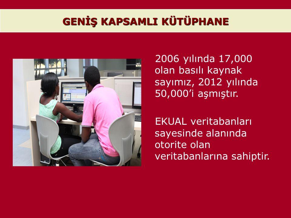 GENİŞ KAPSAMLI KÜTÜPHANE 2006 yılında 17,000 olan basılı kaynak sayımız, 2012 yılında 50,000'i aşmıştır. EKUAL veritabanları sayesinde alanında otorit